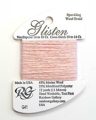GLISTEN Sparkling Braid #41 Barely Pink Needlepoint Thread by Rainbow Gallery