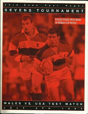 5.7.1997 USA v WALES, 1st Test Match, Wilmington, Rare with TEAMSHEET included!