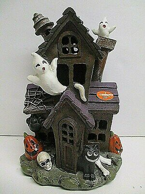 """Light-up Haunted house Ghost Halloween Village decor ~ 6"""" tall ~battery operate"""