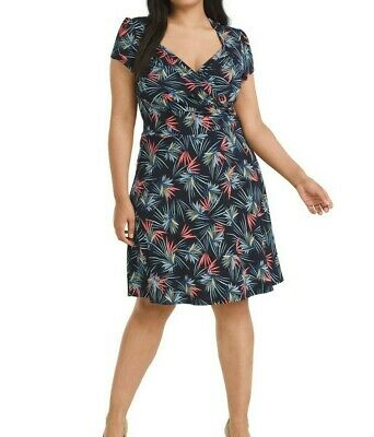 Leota Ponte Knit Wave Printed Sweetheart fit And Flare Dress XL