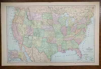 """Vintage 1900 UNITED STATES of AMERICA Atlas Map 22""""x14"""" ~ Old Antique USA"""