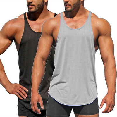Mens Muscle Sleeveless Tank Top Tee Shirt Bodybuilding Sport Gym Casual Vest
