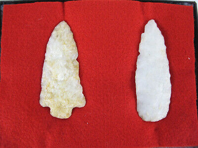 Ancient Native American Indian Pennsylvania Two LARGE Quartz Spearheads NR yqz