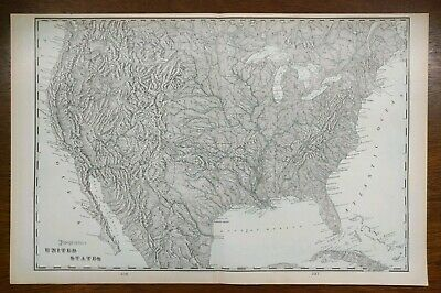 """Vintage 1902 UNITED STATES TOPOGRAPHICAL Atlas Map 22""""x14"""" ~ Old Antique USA"""