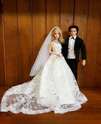 New Quality Set Barbie And Ken Dolls Wedding Dresses Veil Bridal couple outfit