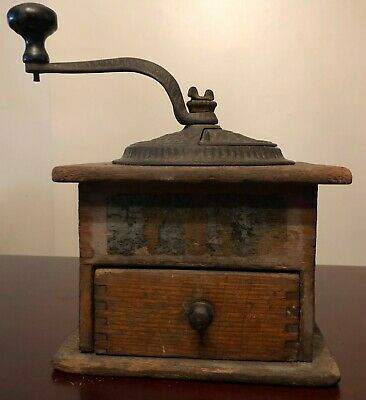 Rare Antique Cast Iron and Wood Coffee Mill Grinder Imperial Arcade Mfg. Co 147