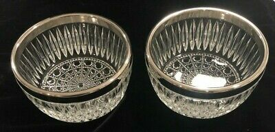 """2 VTG Small Heavy Pressed Glass Bowls w/Silver Plate Rim Octagons/Bursts 4-7/8""""D"""