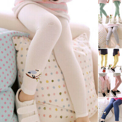 Cute Baby Girls Kids Cotton Leggings Embroidery Stretchy Long Pants 2-9Y Autumn