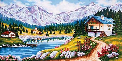 Large Grafitec Tapestry Needlepoint Printed Canvas Mountain Chalet In Spring