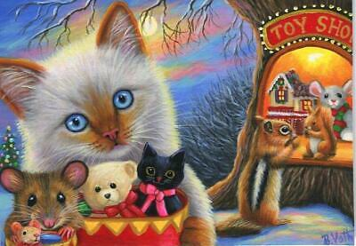 Aceo Siamese Cat Kitten Toy Store Tree House Chipmunk Red Squirrel Xmas Painting