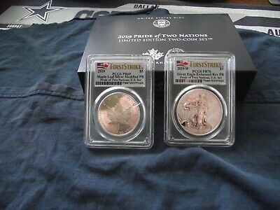 2019 PCGS PR70/PR69 PRIDE OF TWO NATIONS Silver Eagle & Maple First Strike w/OGP