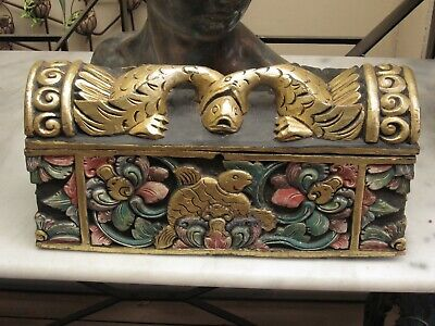 Ornate Hand Carved Wood Chest with Swans,Fish & Monkeys.