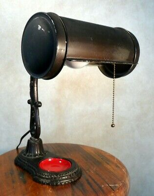 Antique Cast Iron Desk Lamp, Original Tray. Rewired, Works,  Circa Early 1900s