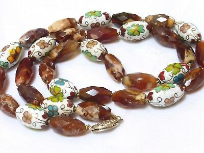 VINTAGE CHINESE CLOISONNE AGATE BEAD NECKLACE, Sterling CLASP