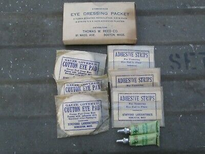 1-55-3 Authentic WWII WW2 Eye Injury Bandages For First Aid Medic Bag Pouch USMC