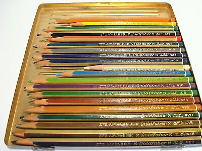 20 Vintage Goldfaber Coloring Pencils 4100 Germany A.W. Faber-Castell Plus Tin