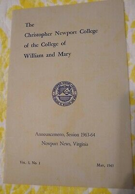 Christopher Newport College of William & Mary, VA,Session 1963-64 Announcements