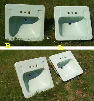 2 Vintage Crane Westland Bathroom Sinks/Pale Jade Mid-Century Porcelain Set/Pair