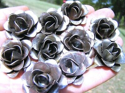 TEN metal art roses, flowers for embellishments and accents
