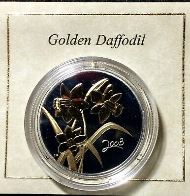 Canada 2003 50 cent Sterling Silver Golden Daffodil Gold Plated Proof. J319