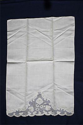 Vintage Madeira Linen & Organza hand towel embroidery applique ivory color