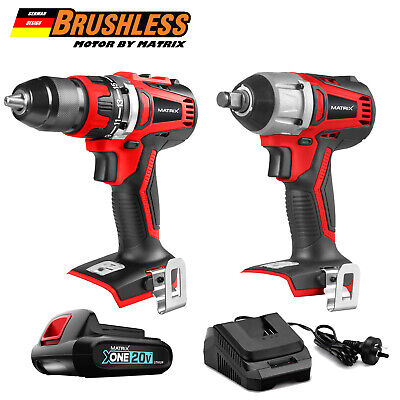 "Matrix 20V Cordless Brushless Drill and Impact Wrench Rattle Gun1/2"" Combo Kit"