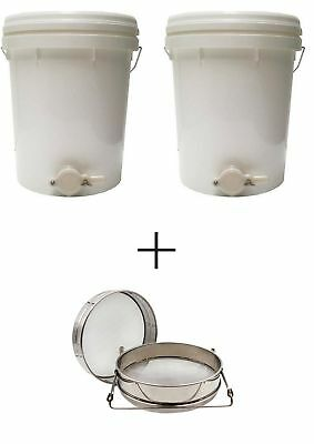 2x Honey Bucket Settling Tank (5 Gallon/20L) & Double Stainless Filter Strainer