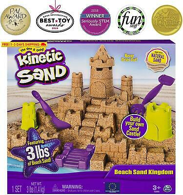 Kinetic Sand Beach Sand Kingdom Playset With 3Lbs Of Beach Sand, For Ages 3 And