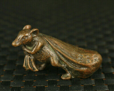 fine old bronze hand casting money drawing mouse statue collectable noble gift