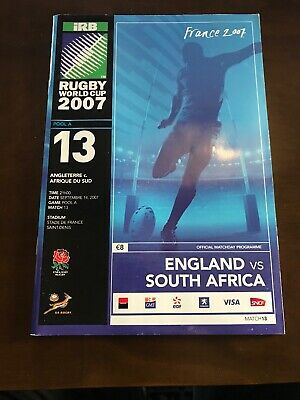 2007 England v South Africa Rugby World Cup Pool Stage Programme