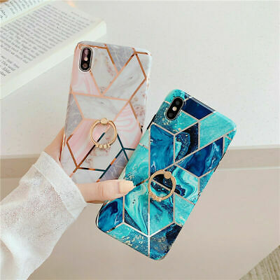 Geometric Marble Phone Case Cover Ring Kickstand Holder For iPhone 11 Pro 6s 7 8