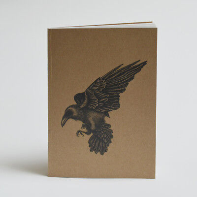 Recycled A6 notebook. Raven illustration. Natural notebook. Raven goth gift
