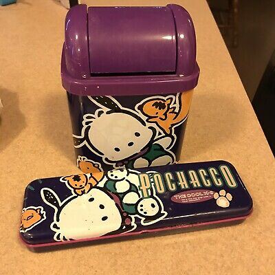 Vintage 2 Pc 1996 Sanrio Pochacco Metal Pencil Case & Trash Bin