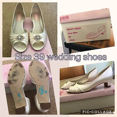 Stunning Pink Paradox Size 39 Ivory Satin Bridal Shoes With Crystal Detail
