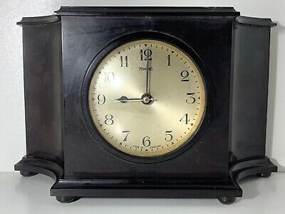 VINTAGE 1930s FERRANTI ELECTRIC BLACK BAKELITE MANTLE CLOCK