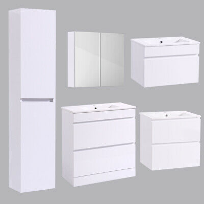 Bathroom Basin Vanity Unit Tall Storage Furniture Mirror Cabinet Gloss White