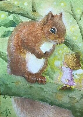 ACEO Original Watercolor Painting Miniature Art Card Little Squirrel and fairy
