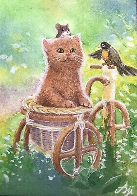 ACEO Original Watercolor Painting Miniature Art Card the brown cat and friends