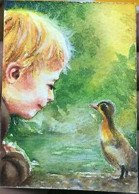 ACEO Original Watercolor Painting Miniature Art Gift Card a little boy and duck
