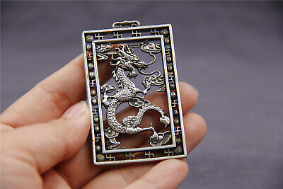 "2.4"" Chinese old tibet silver Hollow out dragon lucky Amulet Thang-ga Pendant"