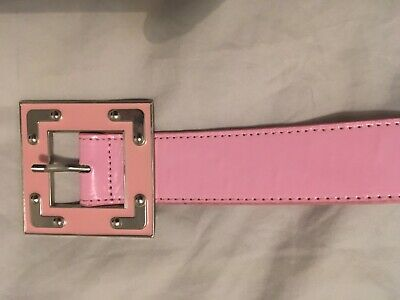 Pink patent belt with square buckle 108cm