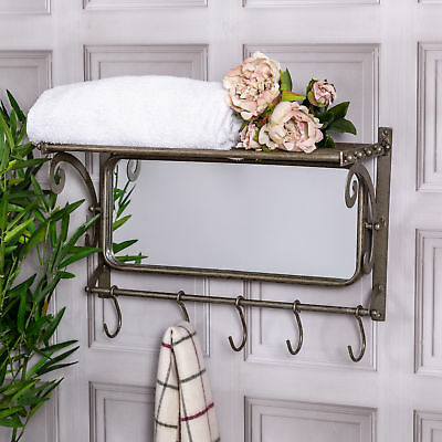 Antique Silver Mirror With Shelf Industrial Hooks Storage Hallway Bathroom Home