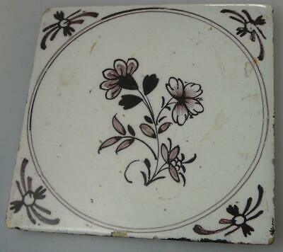 OLD DELFT MANGANESE TILE FLOWERS c.1700s TIN GLAZE