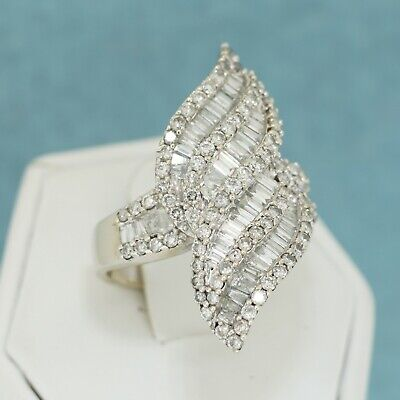 14k White Gold Curved 2 2.0 CT Round Baguette Diamond Cluster Waterfall Ring 7