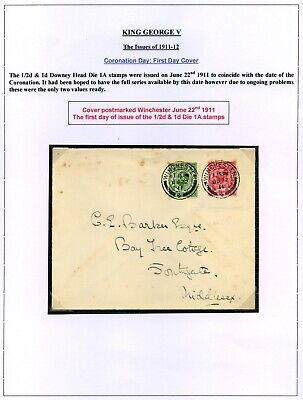 1911 KGV Downey Head ½d & 1d Die 1A First Day Cover, June 22nd - SG 322 & 327