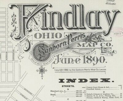 Findlay, Ohio~Sanborn Map© sheets~with 18 maps in color on CD