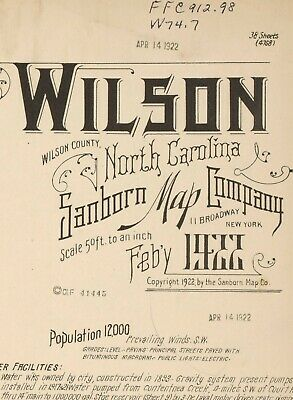 Wilson, North Carolina ~Sanborn Map©sheets~68 high resolution map imagery