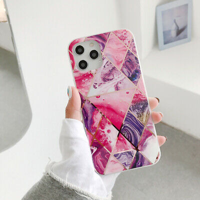For iPhone 11 Pro MAX XS XR 8 7 Plus Geometric Marble Silicone Case CA shipping
