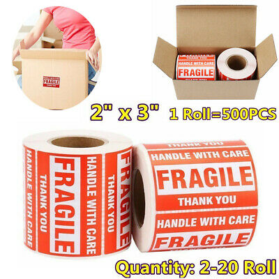 2-20 Rolls 2x3 Fragile Sticker 500/Roll Handle with Care Thank You Ship Label US