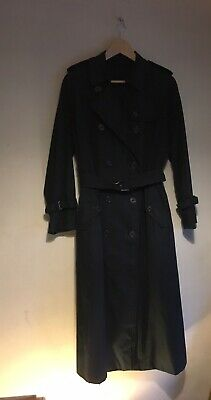 Ladies Vintage Burberry Trench Coat Black Long 10-12 Double Breasted Mac Rain